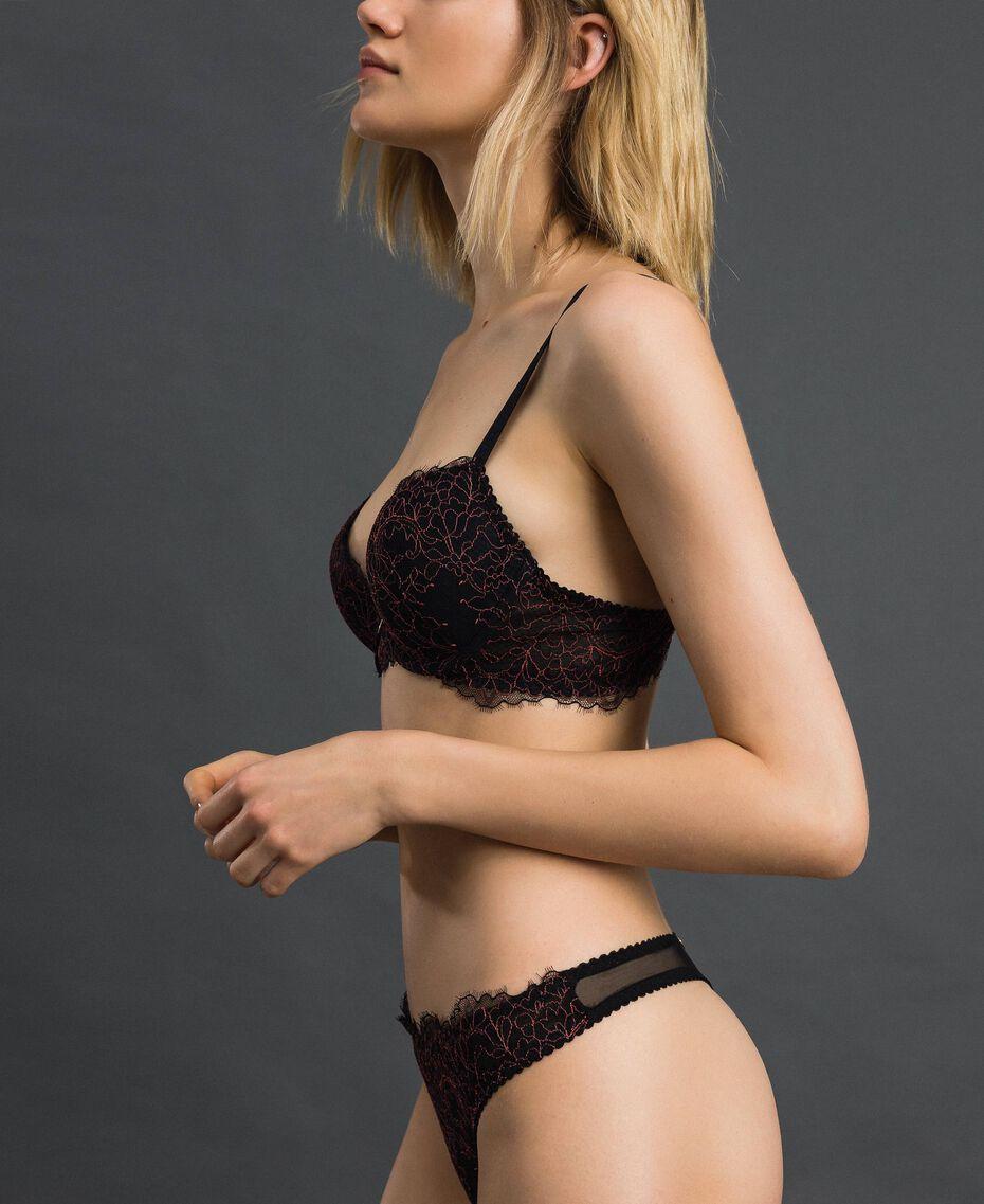 String en dentelle et tulle Noir / Rose «Dolly» Femme 192LI6488-02