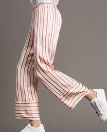 Gestreifte Satin-Hose Streifen Pearl Pink Frau 191TP245B-03