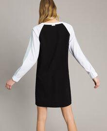 Robe bicolore en gabardine Bicolore Noir / Blanc Optique Femme 191LL25DD-03