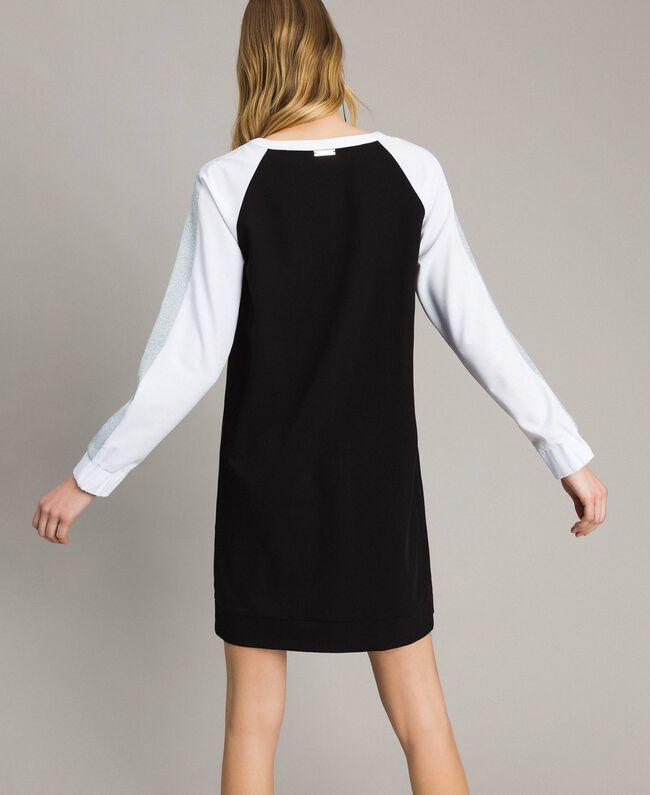 Two-tone gabardine dress Two-tone Black / Optical White Woman 191LL25DD-03