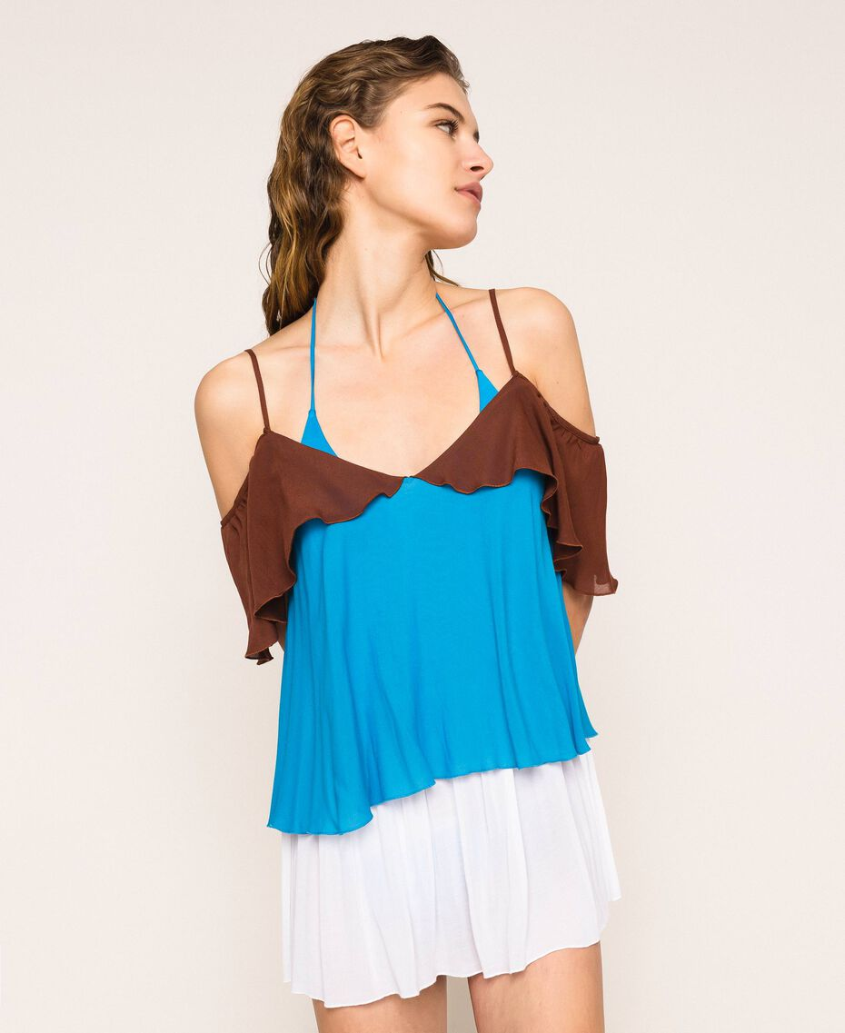 "Colour block georgette top with flounces Multicolour ""Bay"" Blue / ""Choco"" Brown / Optical White Woman 201LM2HHH-02"