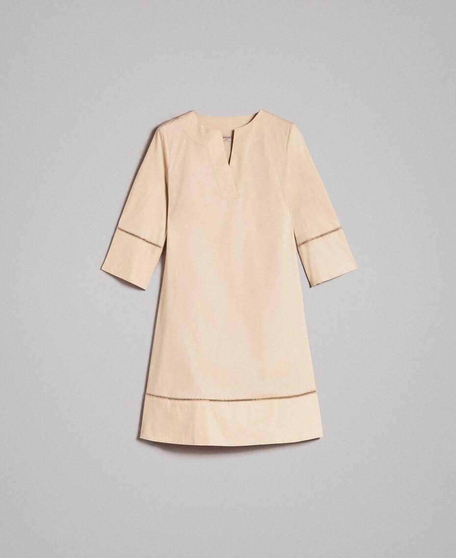 """Robe en popeline avec broderie Beige """"Pâte d'Amande"""" Femme 191TT2242-0S"""