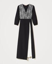 Robe longue avec dentelle de Chantilly et plissé Bicolore Noir / Blanc Optique Femme 211TQ210A-0S