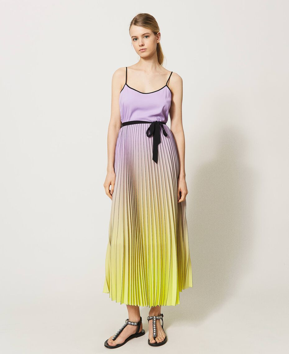 """Pleated dress with fadeout print """"Sweet Lilac"""" Purple Fadeout Multicolour Woman 211LL2MLL-02"""