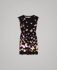 Patterned knit dress Black Butterfly Print Woman 191TT3180-0S