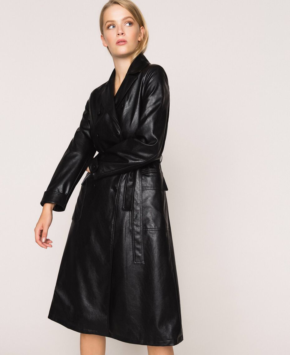 Faux leather trench coat with belt Black Woman 201MP2031-01