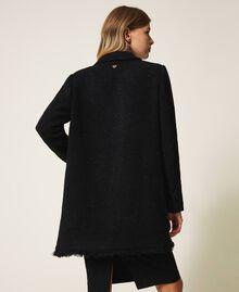 Sobretodo de lana mixta bouclé Negro Mujer 202TT217A-03