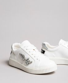 Faux leather sneakers with stones White Cream Woman 191MCP032-01