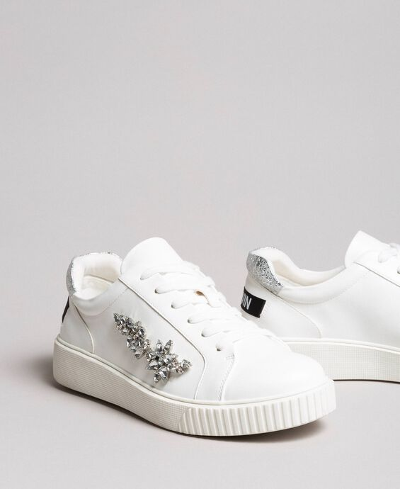 Faux leather sneakers with stones