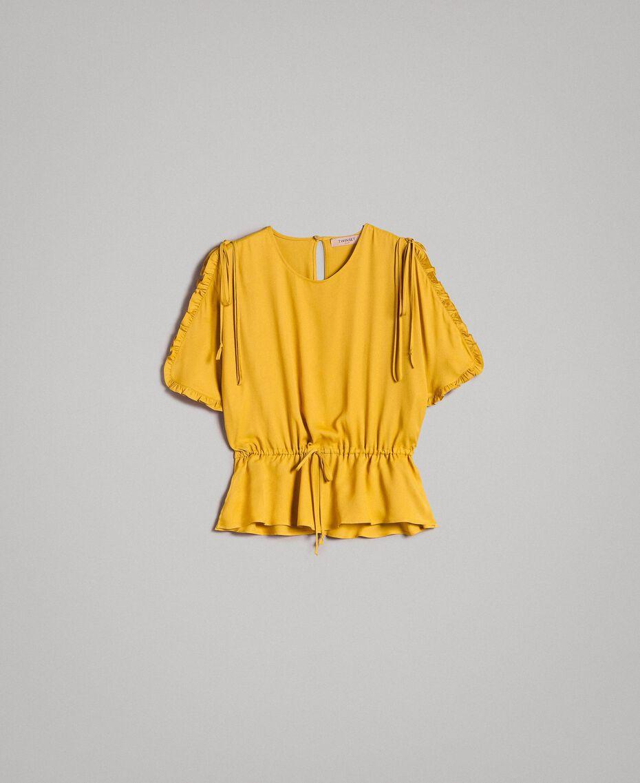 """Bluse mit Rüschen aus Seidenmischung """"Honey Gold"""" Frau 191TT2071-0S"""
