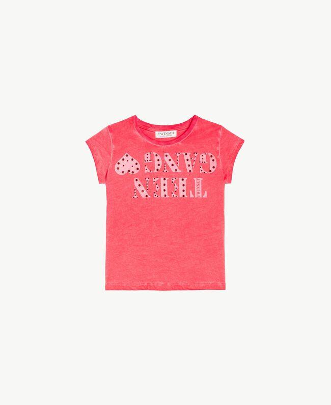 T-Shirt mit Print Zweifarbig Granatapfelrot / Blütenknospenrosa Kind GS821A-01