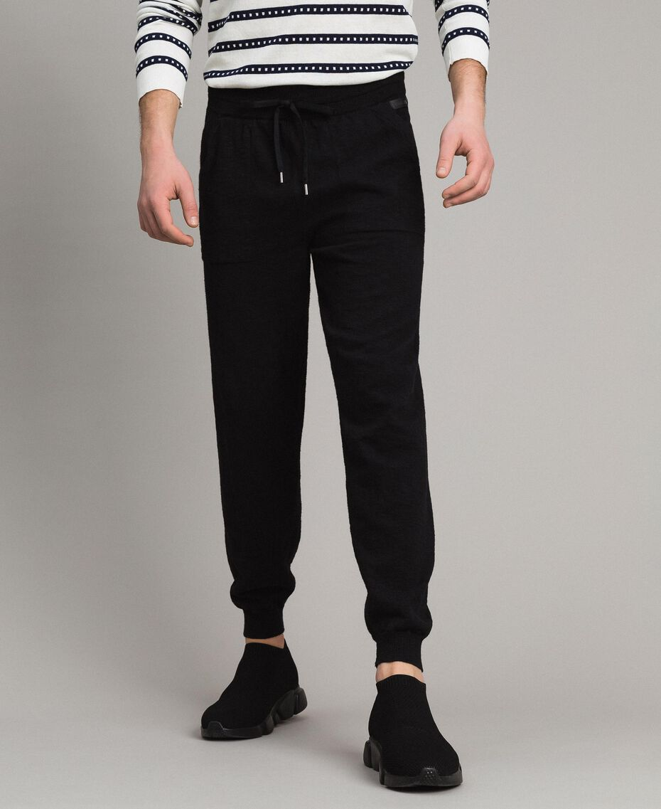 Cotton-blend slub jogging trousers Black Man 191UT3091-01