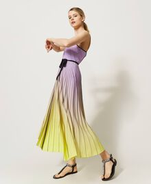 """Pleated dress with fadeout print """"Sweet Lilac"""" Purple Fadeout Multicolour Woman 211LL2MLL-04"""