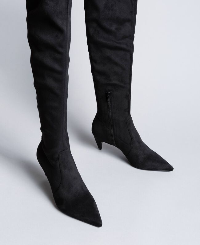 Bottes cuissardes en tissu Noir Femme CA8TDC-01