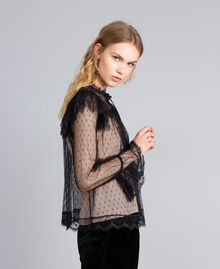 Tulle plumetis and lace blouse Black Woman TA82XE-02