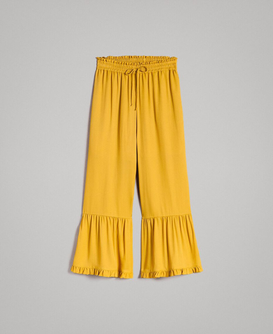 """Silk blend trousers with ruches """"Honey Gold"""" Woman 191TT2073-0S"""