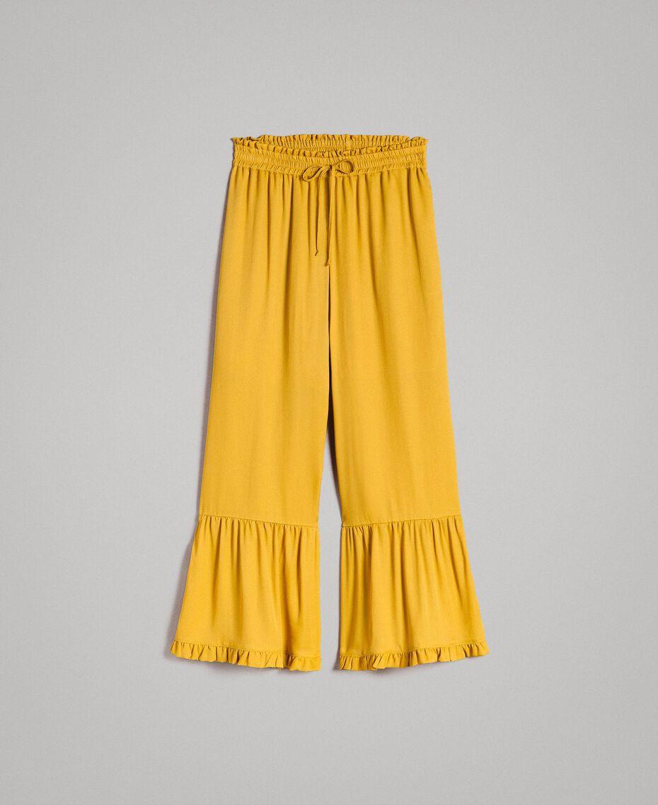 """Hose mit Rüschen aus Seidenmischung """"Honey Gold"""" Frau 191TT2073-0S"""