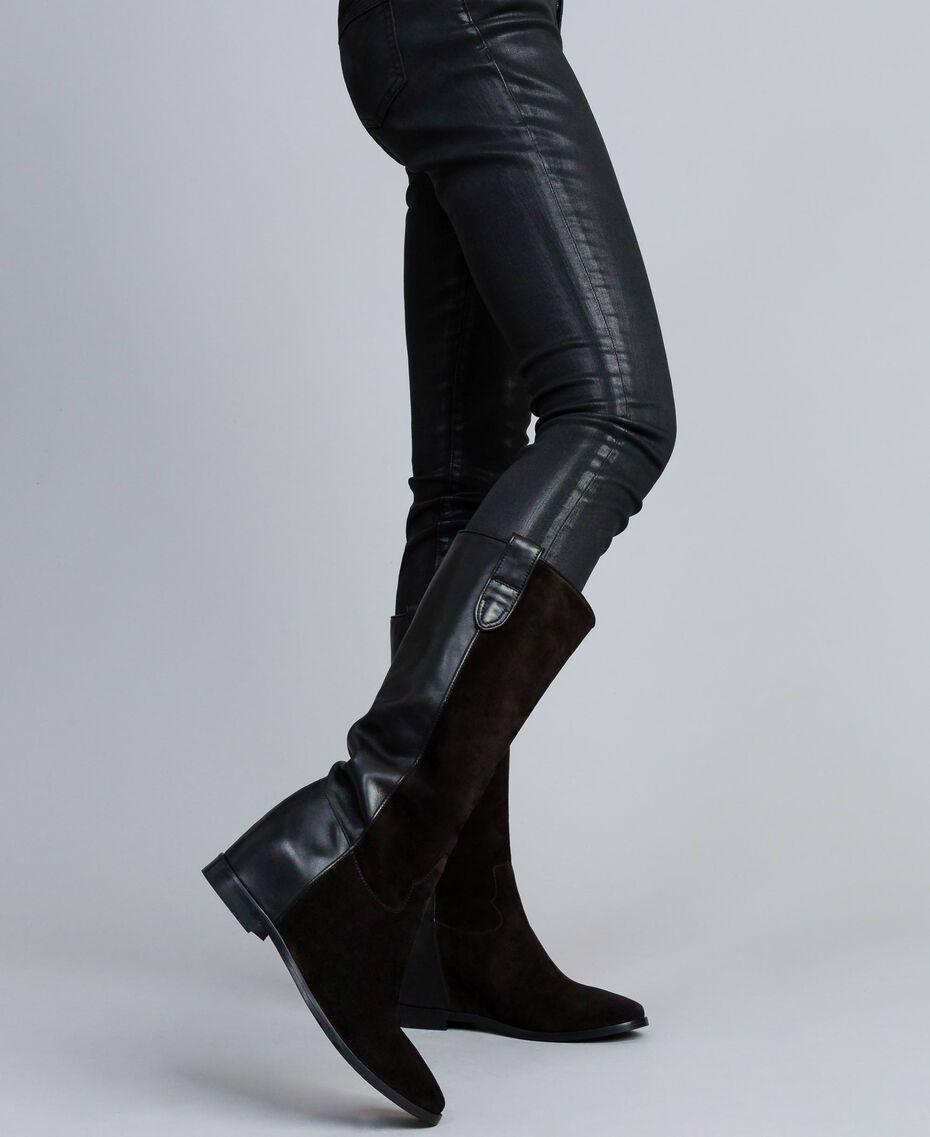 Bottines en cuir et croûte de cuir avec semelle compensée Noir Femme CA8TCE-0S