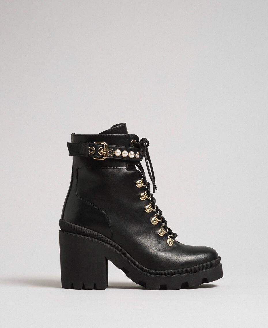 Leather combat boots with heel and pearls Black Woman 192TCP01C-02