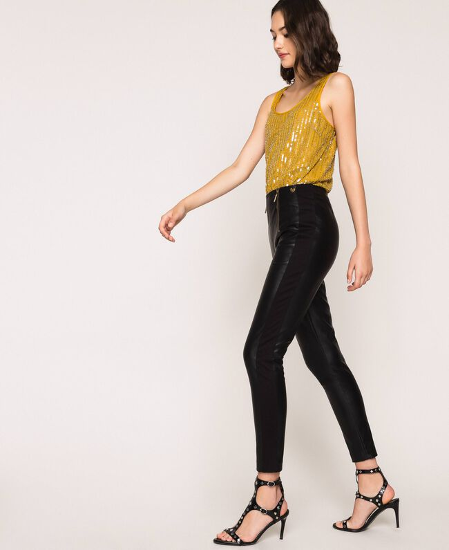 Faux leather leggings with zip Black Woman 201TP2200-04