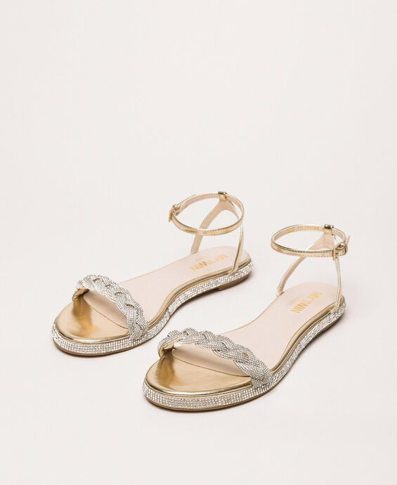 Flat sandals with plait and rhinestones