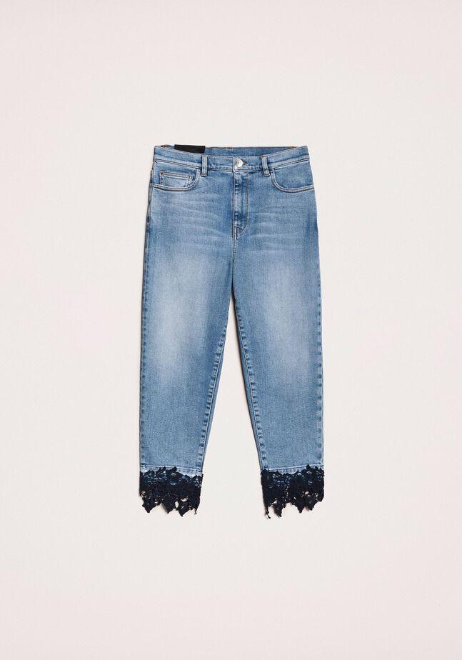 Cropped-Jeans mit Spitze