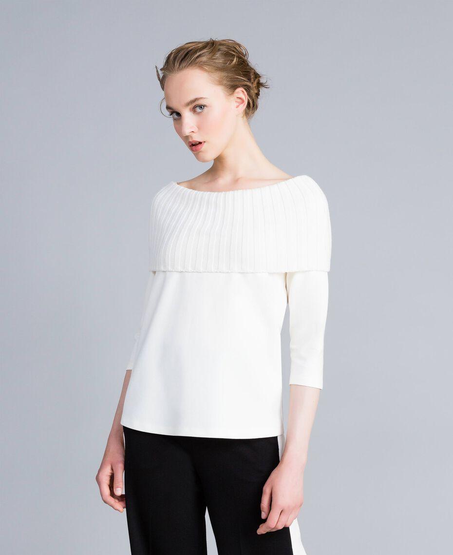 Pullover aus Interlock-Jersey mit Trapezlinie Weiß Schnee Frau PA8215-01