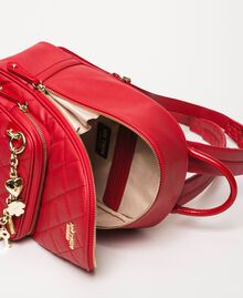 Quilted faux leather backpack with charms Venetian Red Woman 201MA7042-05