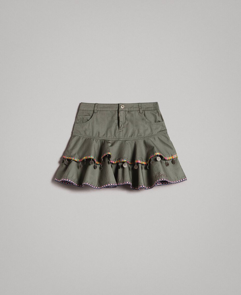 Gonna in cotone con medagliette Verde Tundra Bambina 191GJ2071-01