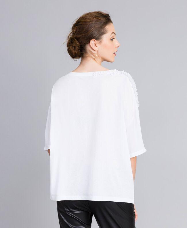 Blouse en soie et jersey avec ruches Blanc Femme PA82DC-03