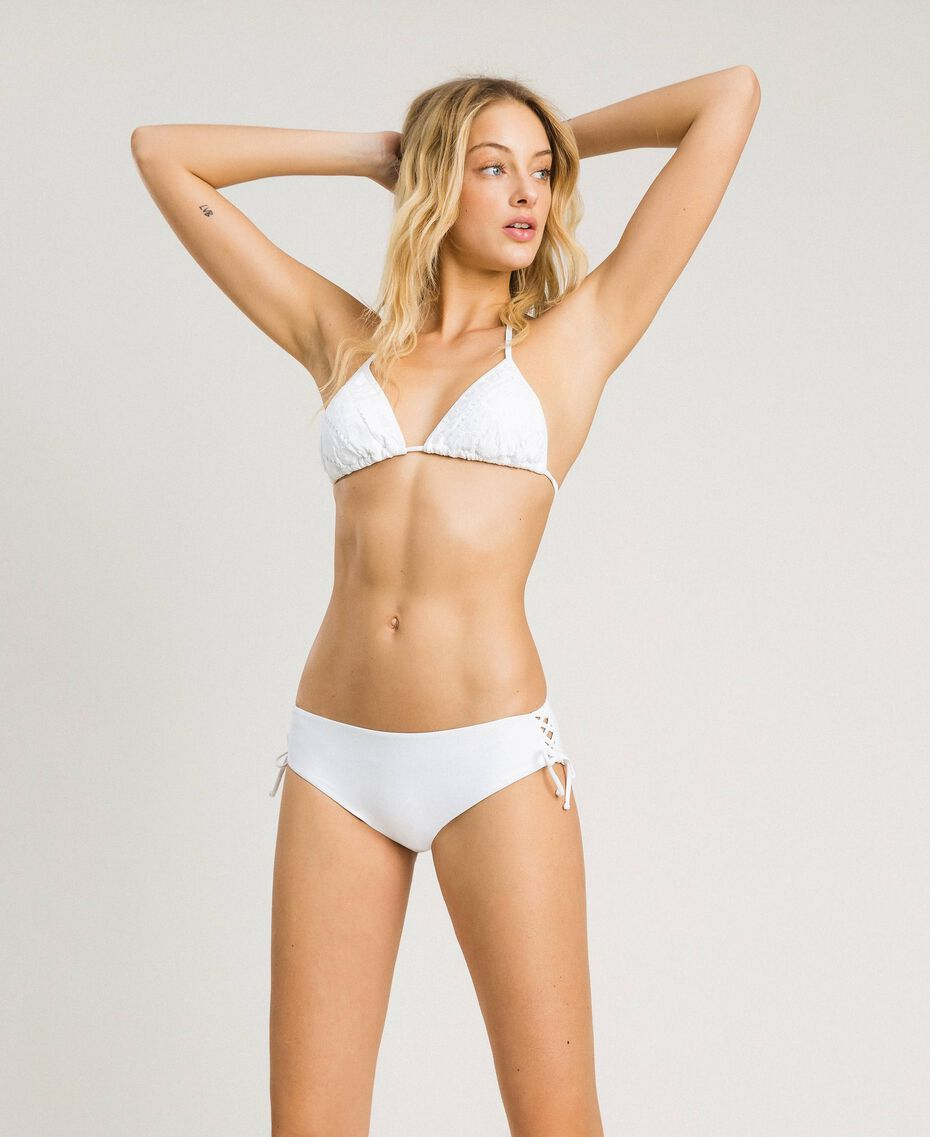 Bikinihose mit Tunnelzug an den Seiten Weiß Frau 191LBME99-0S