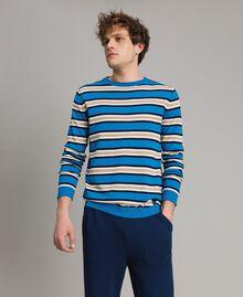 "Crêpe cotton striped jumper Multicolour Bay Blue / ""Blackout"" Blau / Opaque White Man 191UT3033-02"
