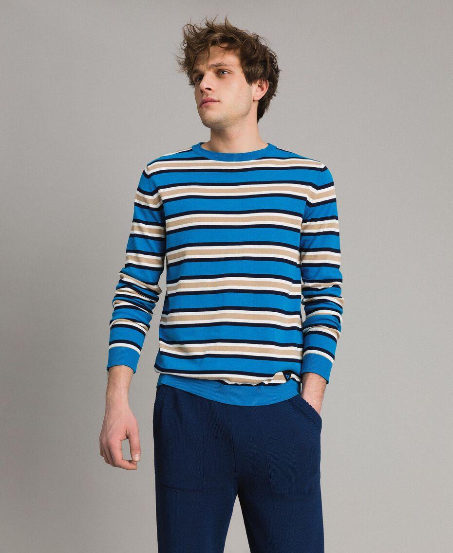 """Pull rayé en crêpe de coton Multicolore Bleu Baie / Bleu """"Blackout"""" / Blanc Opaque Homme 191UT3033-02"""