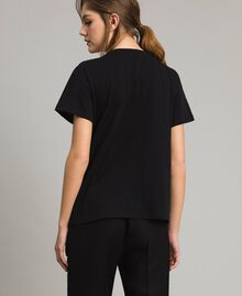 Embroidery and fringe T-shirt Black Woman 191TT2204-03