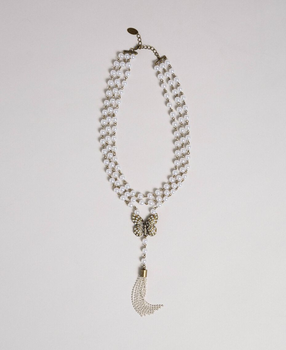 Pearl necklace with butterfly pendant Aged Brass Woman 192TA4360-01