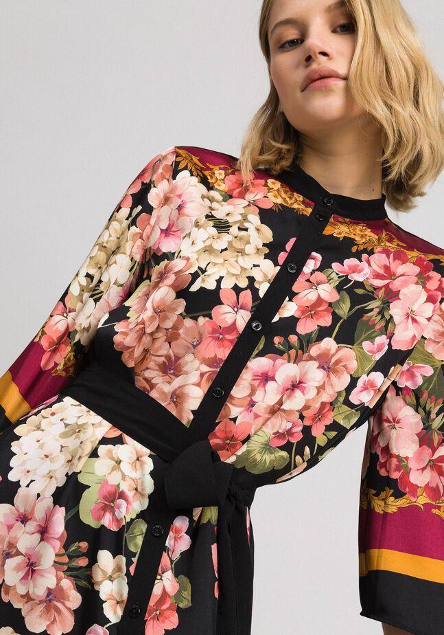 Abito chemisier con stampa foulard a fiori