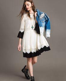 """Georgette dress with lace Bicolour """"Snow"""" White / Black Woman 191TT2102-0T"""