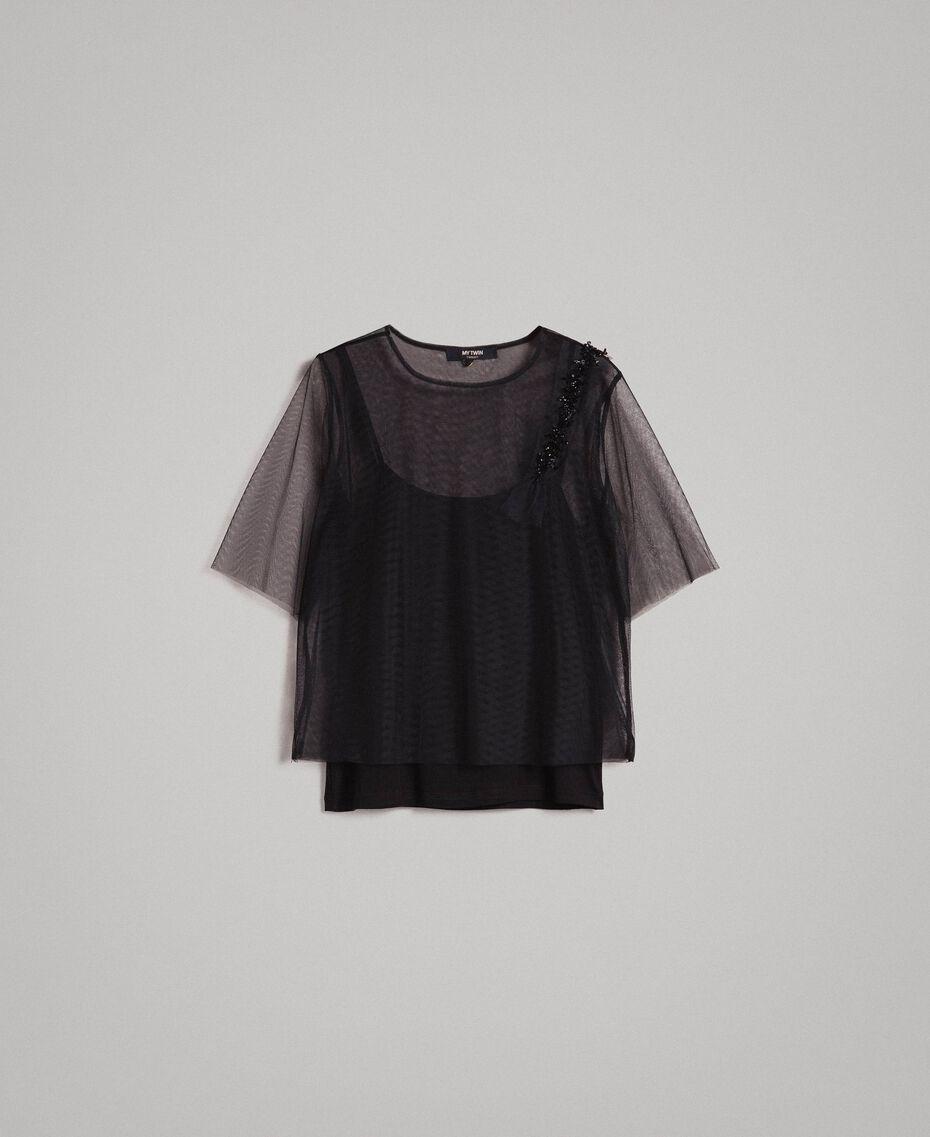 Blouse en tulle avec patch brodé Noir Femme 191MP2131-0S