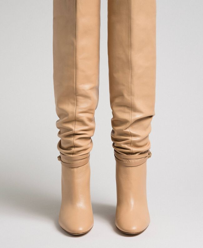 """Leather thigh-high boots with strap """"Nude"""" Beige Woman 192TCP106-04"""