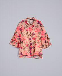 """Bluse aus Chiffon mit Blumenprint Print """"Rosa Tulpe"""" Frau TA825S-0S"""