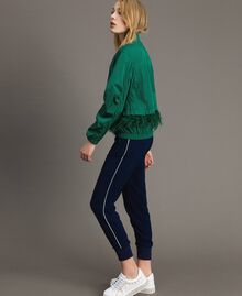 Technical fabric bomber jacket with feathers Evergreen Green Woman 191TP2011-04