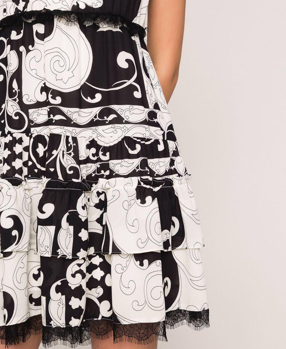Мини-платье из набивного жоржета Принт Либерти Белый / Черный женщина 201ST213L-05