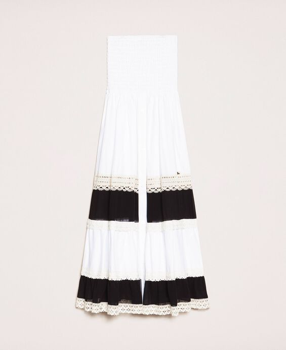 Skirt-dress with georgette and lace inlays