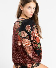 Maxi viscose blend printed jumper Black Flower Print Woman LA8KDD-03