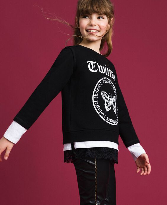 Oversize sweatshirt with print and lace