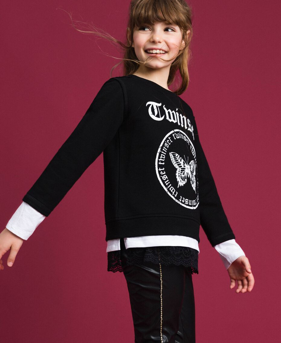 Oversize sweatshirt with print and lace Two-tone Black / Optical White Child 192GJ2391-01