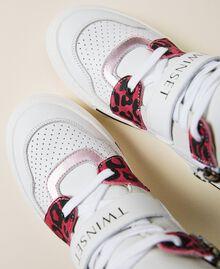 Sneakers de piel con animal print Bicolor Blanco / Estampado Maculado Carmine Rose Niño 212GCJ042-03