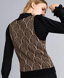 Wool blend and lurex jacquard gilet Black Gold Lurex Jacquard Woman TA8321-01