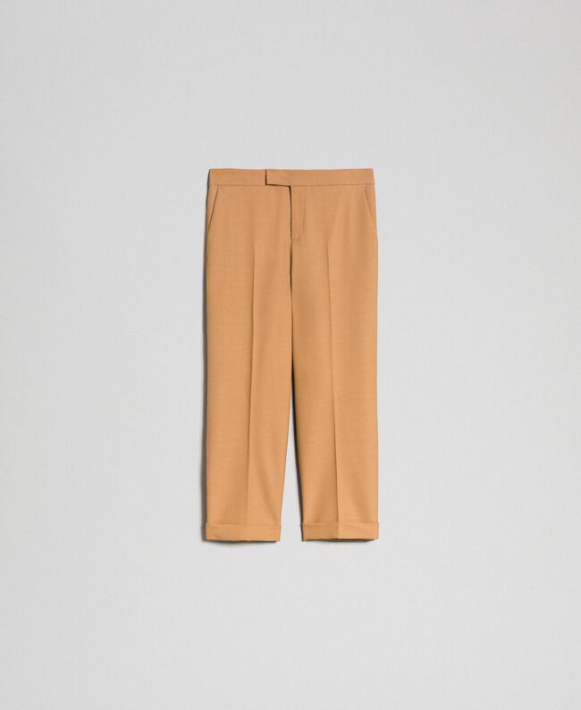 Cigarette trousers in technical wool Camel Woman 192TT2455-0S