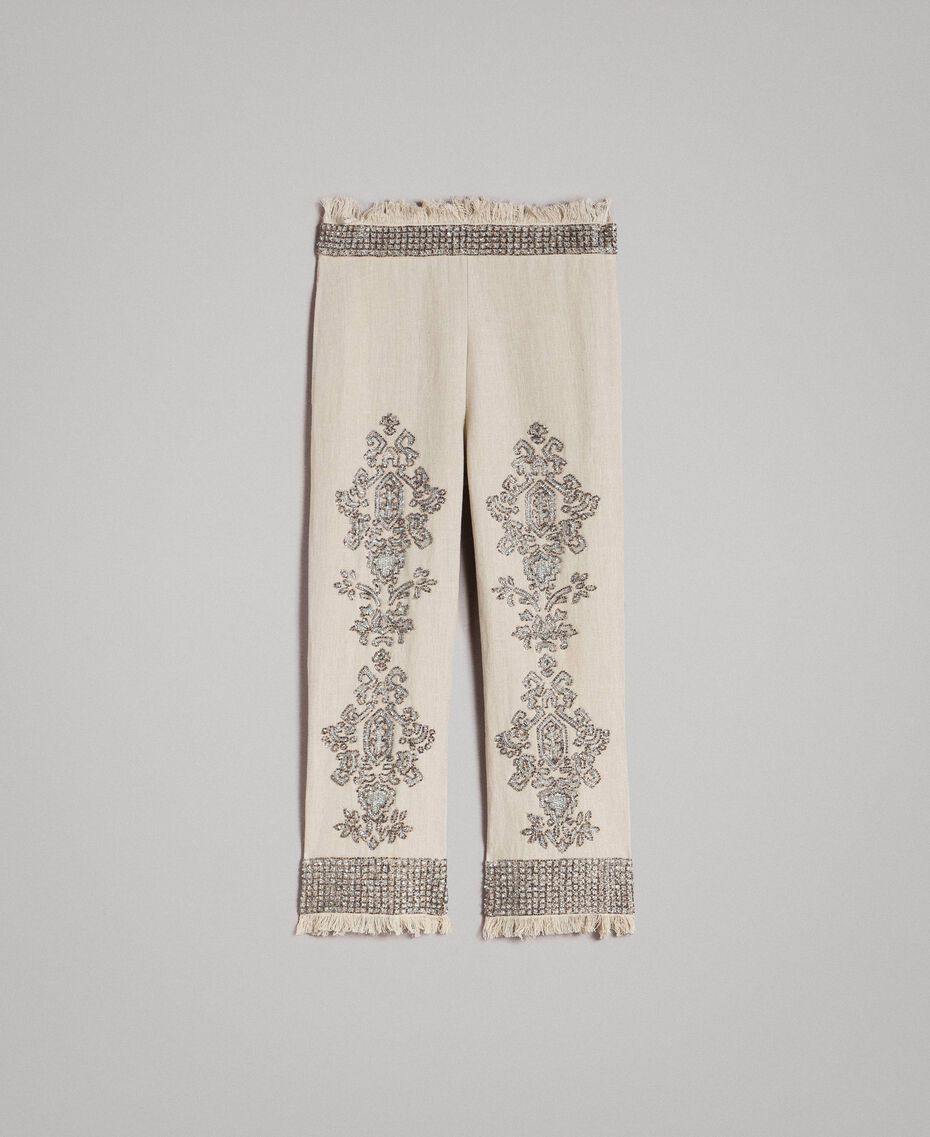 """Linen trousers with beads and sequins """"Sand"""" Beige Woman 191TT2061-0S"""